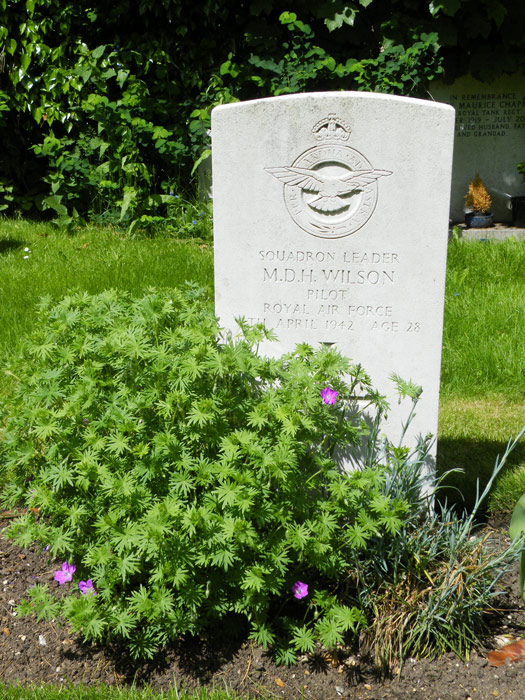 The grave of Squadron Leader Drummond' Jock' Wilson in the Commonwealth War Graves Cemetery in Wyton